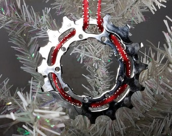 Bike Holiday Ornament, Unique Bike Ornament, Bike Christmas Ornament, Reycled Bike Ornament, Gift for Her, Gift for Him, Bike Gear Ornament