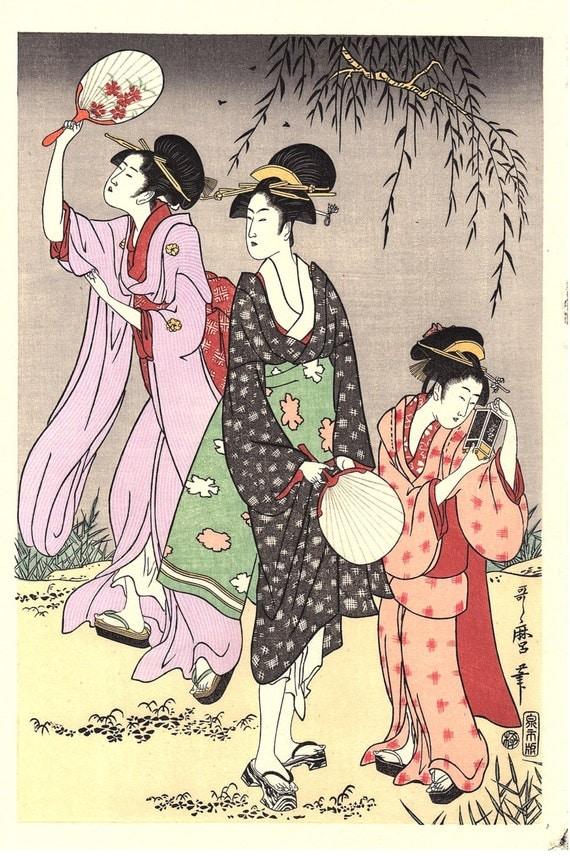 "Japanese Ukiyoe, Woodblock print, Utamaro, ""Catching Fireflies"""