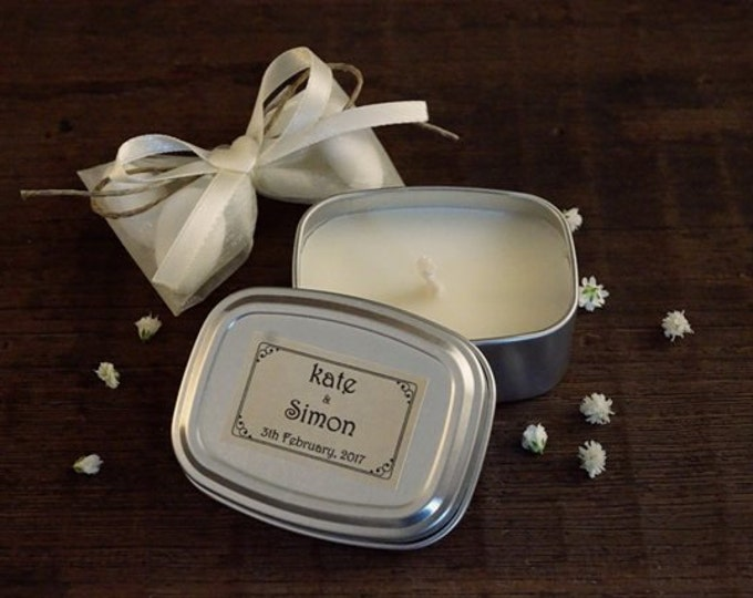 Modern wedding ,Tin Candle 2oz, Wedding Favors, Custom Fragrance and label, Tin container, Scented Candle, Favors candles, Essential style
