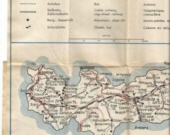 1960 map of austria antique map vintage wall decor