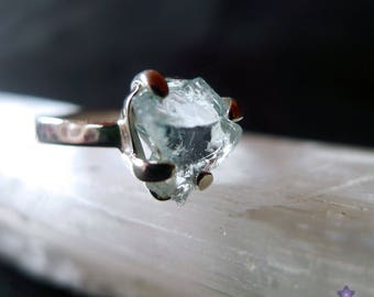 Natural AQUAMARINE RING in Sterling Silver - Raw Natural Gemstone - Ring Size 8.5 (R)