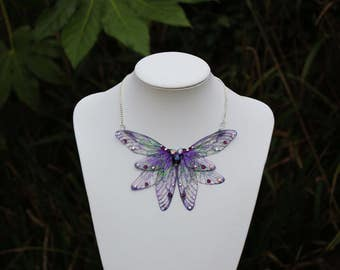 Midnight Purple and Green Dragonfly Choker Collar - Gossamer Fairy/Faerie Butterfly Cicada Wing Statement Necklace
