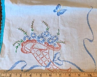 Table Runner Vintage Embroidered Baskets and Butterflies