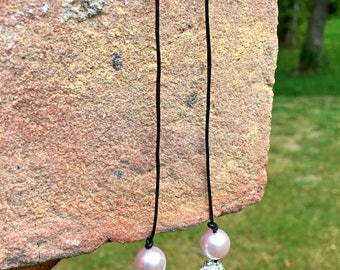 Pink Pearl Beaded Leather Knot Necklace