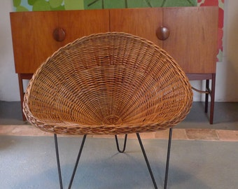 now SOLD - Conran Wicker Cone Chair on Hairpin Legs 50s / 60s Mid-century Vintage Retro