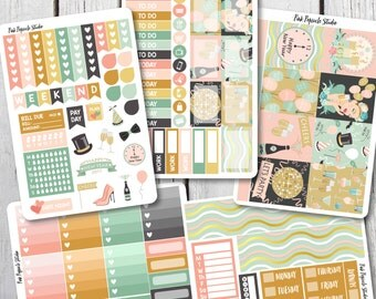 50% OFF - New Years Eve Weekly Kit - MATTE Planner Stickers - VERTICAL