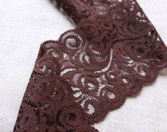 "5.5 Yards Brown Stretch Lace Trim 3.5"" 9 cm Wide Narrow Unstretchable Lace"