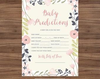 Watercolor Wreath Baby Prediction Card / Watercolor Baby Girl Shower Game / Floral Baby Shower Game / Printable Digital / INSTANT DOWNLOAD