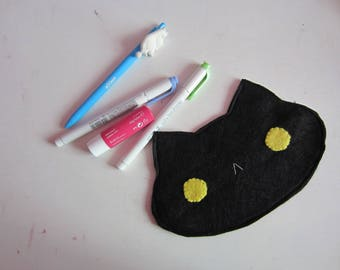Kawaii custom felt cat kitty pencil makeup traveler pouch case gift idea girlfriend couples lolita fairy kei gothic sweet otome fashion