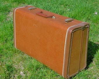 Vintage 1960's  Suitcase with Leather Trim, Brown Travel Cardboard Luggage Home Decor Trunk or Storage, Great Condition!