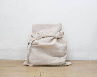 Linen Picnic Blanket w/ drawstring bag