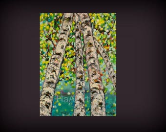 Birch Trees Painting, Green Birch Trees, Looking Up, Original oil painting, Green Leaves, HaAiArt, Tree art decor, Colorful, 12x16 inches
