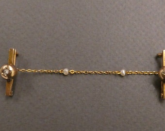 14K Double Bar Pins with diamonds and pearls