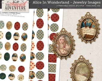Unique Alice In Wonderland Images, Printable Digital Collage Sheet, Ovals Rounds for Jewelry, Instant Download, Cabochons, Pendants, Magnets