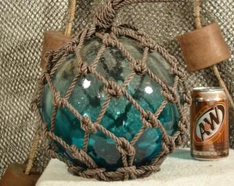 Japanese Glass Fishing Float In  Light Aqua