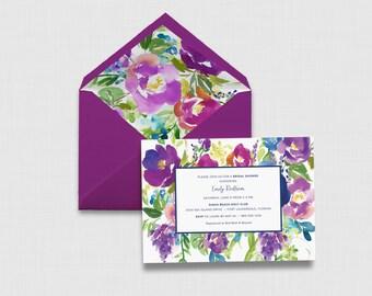 "Violet Watercolor Floral 5"" x 7"" Bridal Shower Invitation - Digital or Printed"