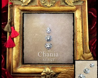 Chania - silver - Bindi for Tribal, Fusion, ATS, oriental bellydance
