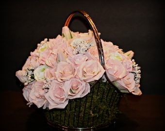 Paper Roses, Pink Roses in a Vintage Silver Handled Container, Bridal or Flower Girl Bouquet, Wedding Bouquet, Silver handle bouquet