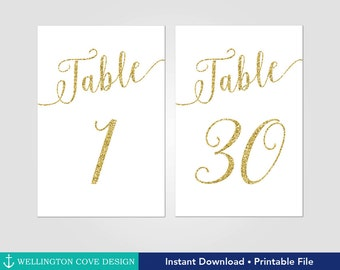 Printable Gold Glitter Table Numbers 1-30 • Wedding New Years Eve • Fun Calligraphy Script • Instant Download • Digital Downloadable 4x6 5x7