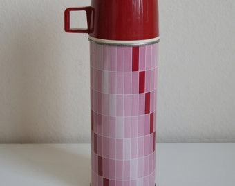 Vintage Red & Pink Rectangle Design Thermos Bottle with Cup #2210