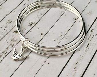 Sterling Silver Bangle Set, With Antique Silver Swallow Bird Charm, Bangle Bracelet, Silver Bangles, Charm Bracelet, Set Of 3 Bangles