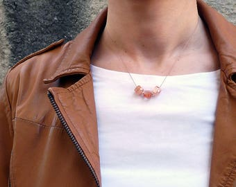 Sunstone necklace. Minimalist silk necklace with Sunstone cubes. Gemstone cube necklace. Suntsone choker Gifts for her