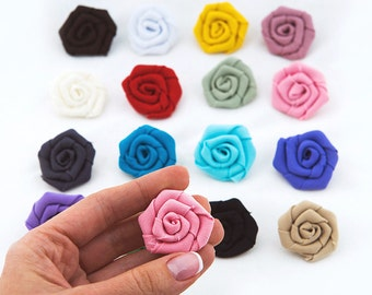 Wedding fabric roses Decorations for wedding Wedding rolled rosette Fabric flowers Mini fabric rosette
