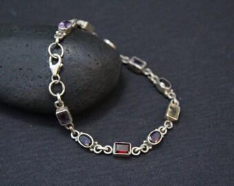 Sterling Gemstone Bracelet, Semiprecious Gemstone Jewelry, Sterling Silver Gemstone Link, Silver Garnet Bracelet