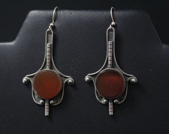 Sterling Silver Sard Agate Dangle Earrings, Carnelian Jewelry, Mid Century Sterling Dangle Earrings, Sterling Carnelian Earrings