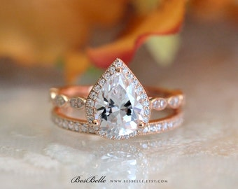 3.20 ct.tw Art Deco Bridal Set Ring-Pear Cut Halo Ring W/ Milgrain All or Half Band Ring-Rose Gold Plated-Sterling Silver [65362RG-2M]