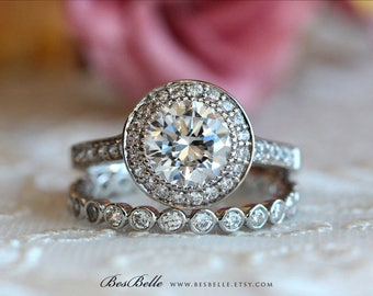 3.40 ct.tw Bridal Set Ring-Brilliant Cut Diamond Simulant-Halo Engagement Ring w/ All or Half Eternity Ring-Solid Sterling Silver [61468-2]