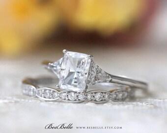 2.20 ct.tw Three Stone Engagement Ring W/ Art Deco Half Eternity Wedding Band-Emerald & Trillion Cut-Bridal Ring-Sterling Silver [62084RS-2]