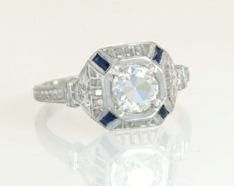 Antique EGL Certified .98ct Diamond & Sapphire 18K Gold Flowers Engagement Ring