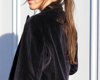 The Velvet Interview: 90s Vintage Black Velvet Chic Blazer Jacket