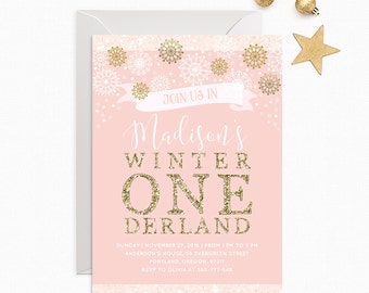 Winter Onederland Invitation Girl First Birthday Party Invite Pink And Gold Birthday Invitation Baby Girl Snowflakes Winter PRINTABLE 5x7