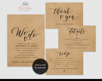 INSTANT DOWNLOAD Editable Pdf Template Set 5x7 We Do Invitation 3.5x5 Details 3.5x5 RSVP 3.5x5 tented style Thank You card Rustic Wedding