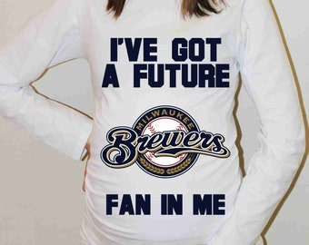 Milwaukee Brewers Shirt Milwaukee Brewers Baseball Long Sleeve Maternity Shirt Pregnancy Baby Shower