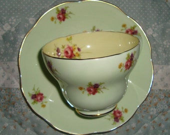 Foley - Bone China Made in England - Vintage Tea Cup and Saucer - Small Pink Roses on Light Green and Yellow