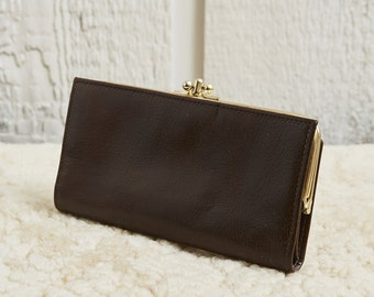 1950s Buxton Brown Leather Snap Top Wallet • M