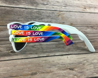 Rainbow ADULT Personalized Sunglasses, Gay Wedding Favor, Bachelorette Party Favor, Rainbow Sunglasses, Pride Parade, LGBTQ Party Favor