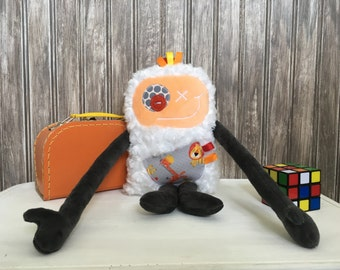 Hug Monster, handmade plush toy,peach and grey with giraffe and lion pocket,friendly monster for children,unique  birthday gift, ready to go