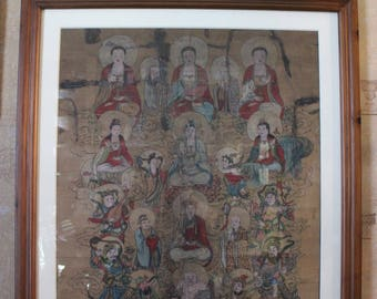 Oriental Antiquity Painting on Parchment c1850 Buddha with the Celestials - ART10024
