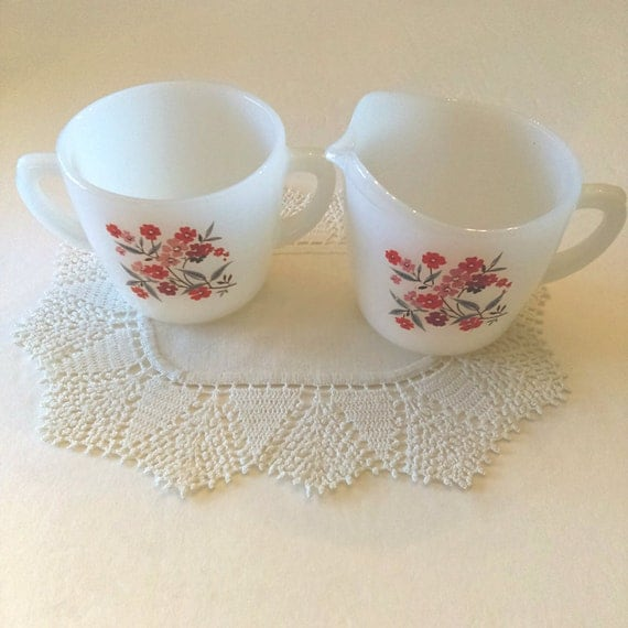 Vintage Fire King Primrose Cream and Sugar Set: 1960s Anchor Hocking Milk Glass