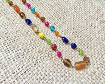 Boho Colorful Choker, Beaded Choker, Rosary Style Jewelry, Boho Glam Necklace, Boho Beaded Necklace, Beaded Necklace, Colorful Beaded Choker