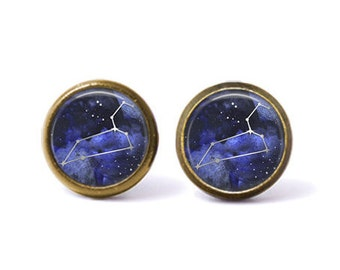 Leo Constellation Stud Earrings | Leo Earrings Constellation Jewelry Zodiac Earrings Galaxy Earrings Stars Space Astrology Watercolor