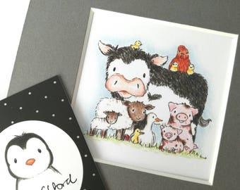 Farm animal print, cow, sheep, duck, chicken, pig picture, farmyard friends, unframed print, kitchen décor
