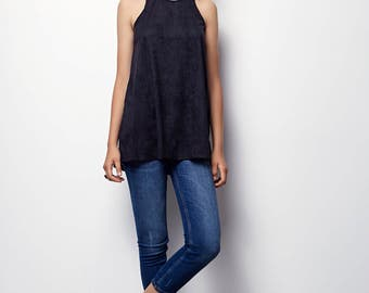 Tank Top Tunic, Suede like perforated tunic, with small holes - Ella - Black