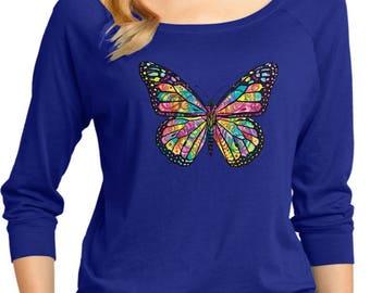 Ladies Neon Butterfly 3/4 Sleeve Scoop Neck 20995NBT4-DM482