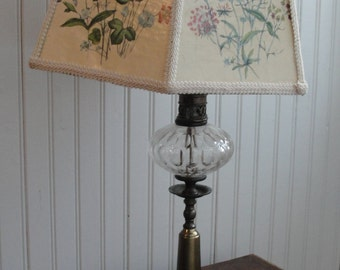 Hexagon shabby chic lamp and lampshade, floral design, flowers, wildflowers, brass and crystal, feminine, unique