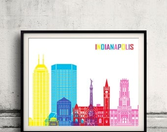 Indianapolis pop art skyline - Fine Art Print Glicee Poster Gift Illustration Pop Art Colorful Landmarks - SKU 2256